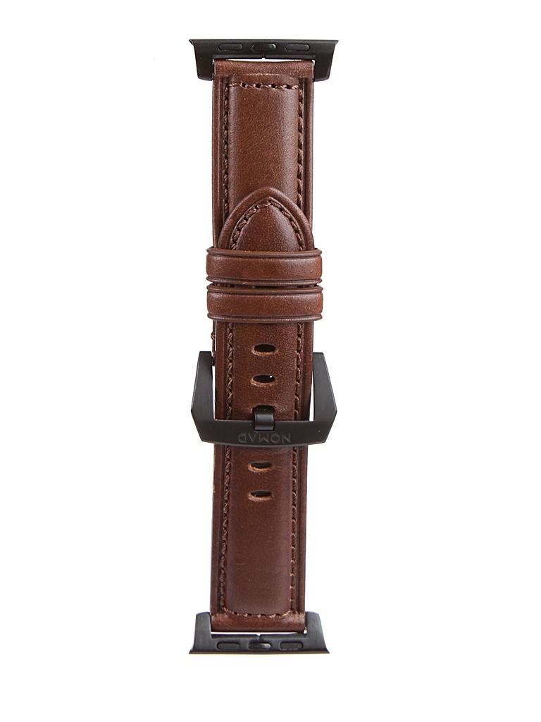 Аксессуар Ремешок Nomad для APPLE Watch 40mm/38mm Traditional Strap Dark Brown-Black NM1A3RBT00 ремешок для смарт часов nomad traditional strap для apple watch 44mm 42mm коричневый