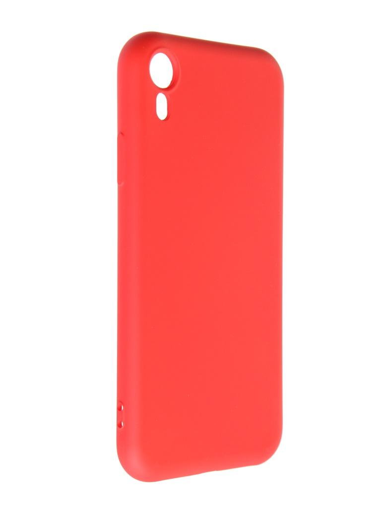Чехол DF для APPLE iPhone XR с микрофиброй Silicone Red iOriginal-07 чехол df для iphone 12 12 pro с микрофиброй silicone red ioriginal 05