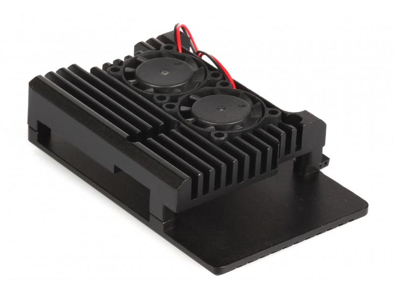 Корпус Qumo RS010 для Raspberry Pi 4 Aluminum Case with Fans Black