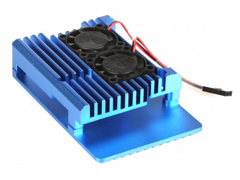 Корпус Qumo RS008 для Raspberry Pi 4 Aluminum Case with Fans Blue