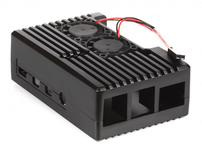 Корпус Qumo RS021 для Raspberry Pi 4 Aluminum Case with Fans Black