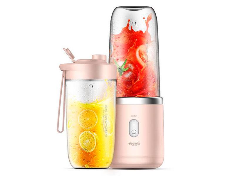 Блендер Xiaomi Deerma Fruit Cup 400ml Pink DEM-NU05 Выгодный набор + серт. 200Р!!! швабра с распылителем xiaomi deerma sweep mop dem tb900 white выгодный набор серт 200р