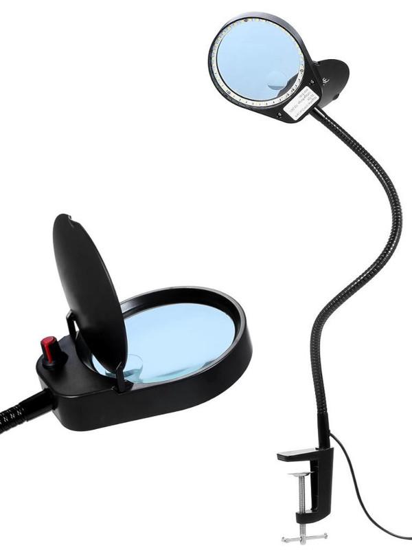 Фото - Лупа Kromatech 5x/15x-100mm с подсветкой 38 LED на струбцине PD-7S 23149b314 лупа bresser national geographic 2 5x 5x 88 мм led