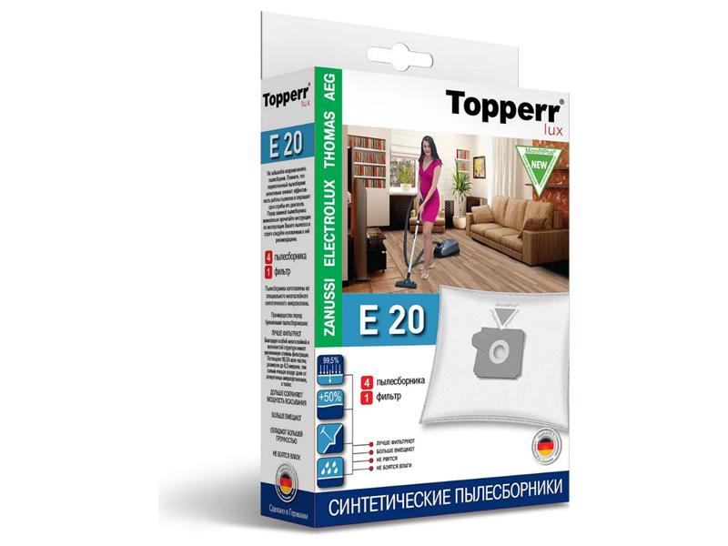 Мешки-пылесборники Topperr E 20 4шт + 1 фильтр пылесборники синтетические topperr bs 20 4шт 1 фильтр для bosch siemens
