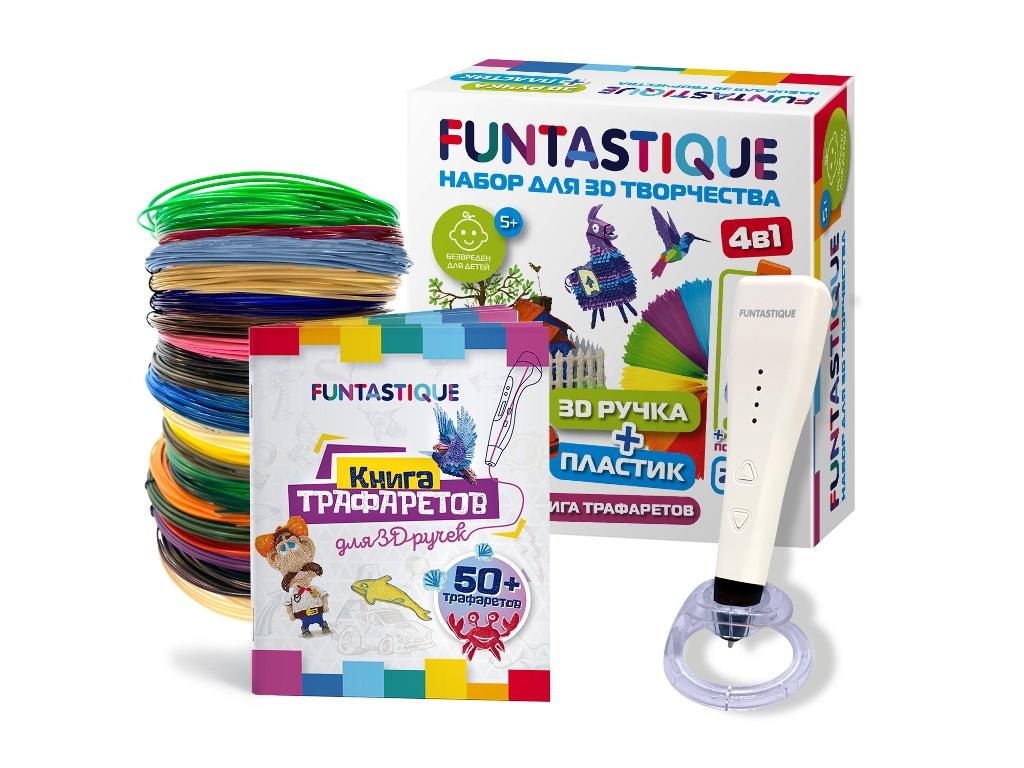 3D ручка Funtastique Cleo с подставкой + PLA-пластик 20 цветов и книжка с трафаретами 4-1-FPN04W-PLA-20-SB