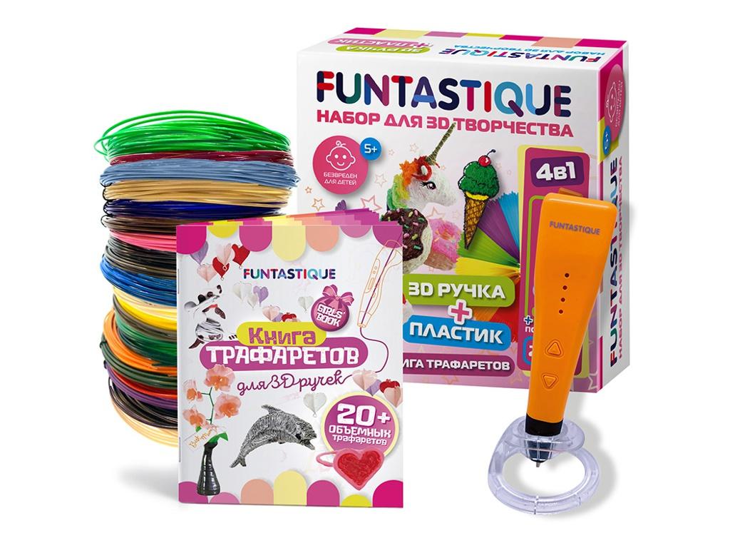 3D ручка Funtastique Cleo с подставкой + PLA-пластик 15 цветов и книжка с трафаретами SET-100598-GIRLS