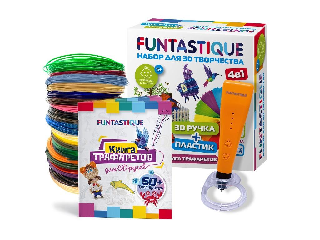 3D ручка Funtastique Cleo с подставкой + PLA-пластик 20 цветов и книжка с трафаретами 4-1-FPN04O-PLA-20-SB