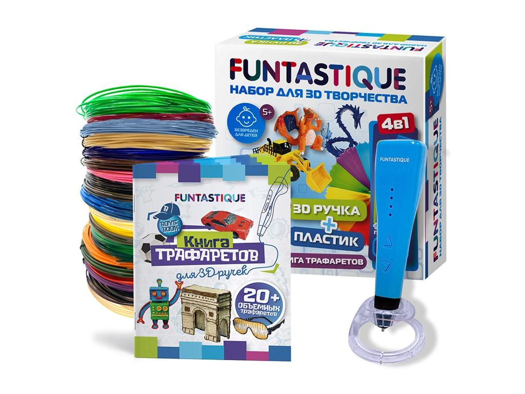 3D ручка Funtastique Cleo с подставкой + PLA-пластик 15 цветов и книжка с трафаретами SET-100604-BOYS