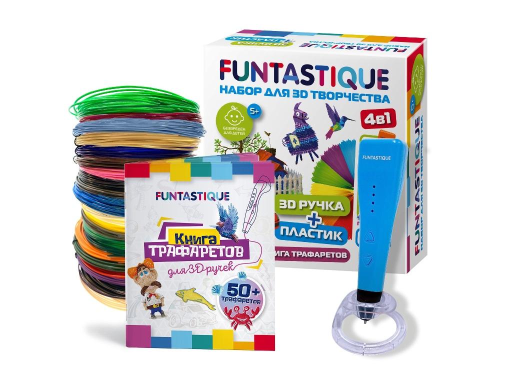 3D ручка Funtastique Cleo с подставкой + PLA-пластик 20 цветов и книжка с трафаретами 4-1-FPN04U-PLA-20-SB