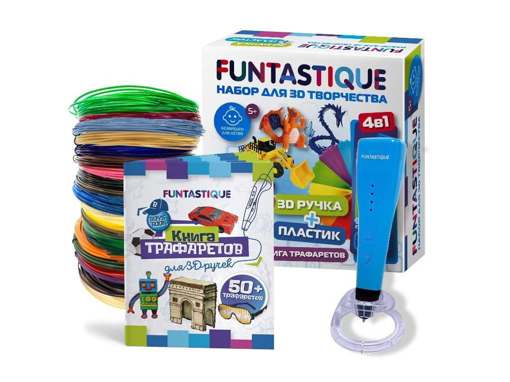3D ручка Funtastique Cleo с подставкой + PLA-пластик 20 цветов и книжка с трафаретами 4-1-FPN04U-PLA-20-SB-BOYS