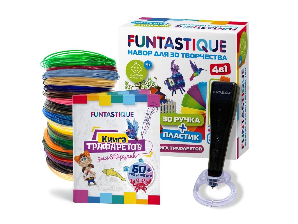3D ручка Funtastique Cleo с подставкой + PLA-пластик 20 цветов и книжка с трафаретами 4-1-FPN04B-PLA-20-SB