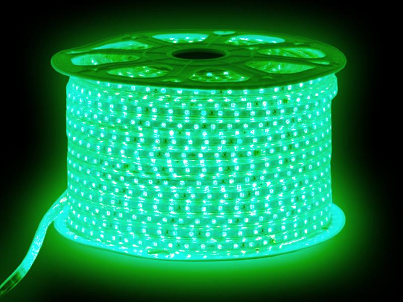 Светодиодная лента URM SMD 5050 60 LED 220V 14.4W IP67 10m Green N02030
