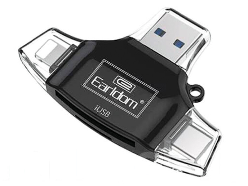 Фото - Карт-ридер Earldom ET-OT31 Lightning / MicroUSB / Type-C - MicroSD / SD карт ридер earldom et ot31 lightning microusb type c microsd sd