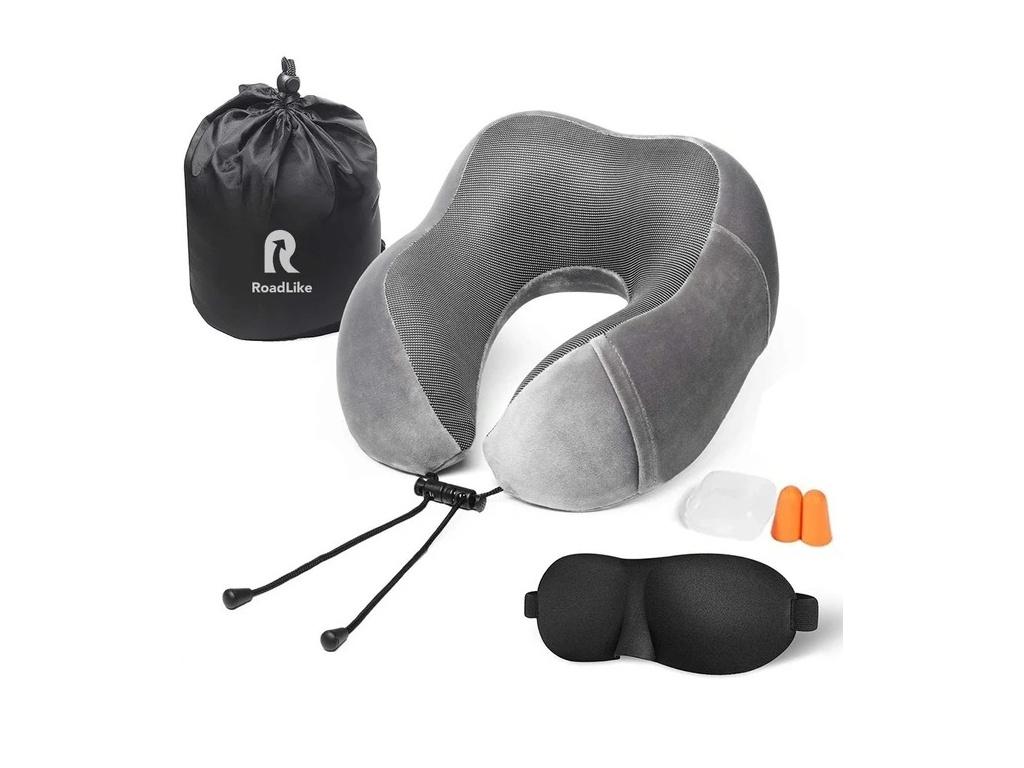 Подушка Roadlike Travel Kit Velvet с эффектом памяти Grey 292240
