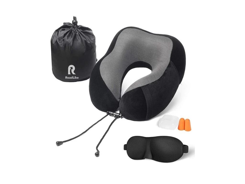 Подушка Roadlike Travel Kit Velvet с эффектом памяти Black 292242