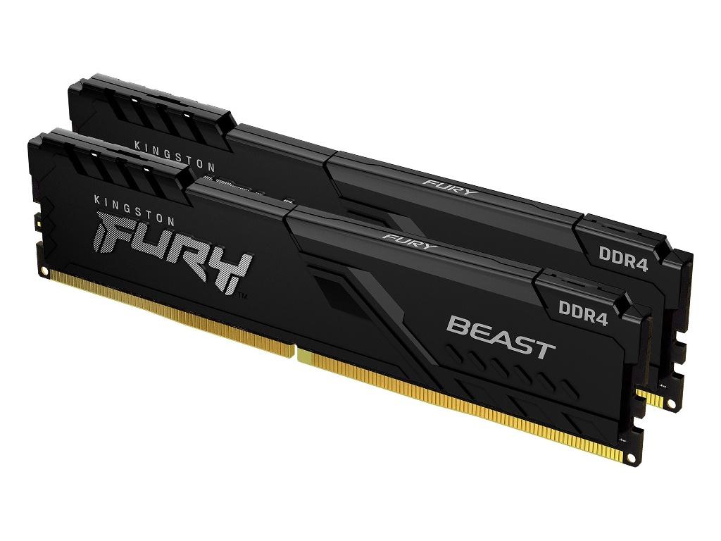 Модуль памяти Kingston Fury Beast Black DDR4 DIMM 2666Mhz PC21300 CL16 - 32Gb Kit (2x16Gb) KF426C16BBK2/32