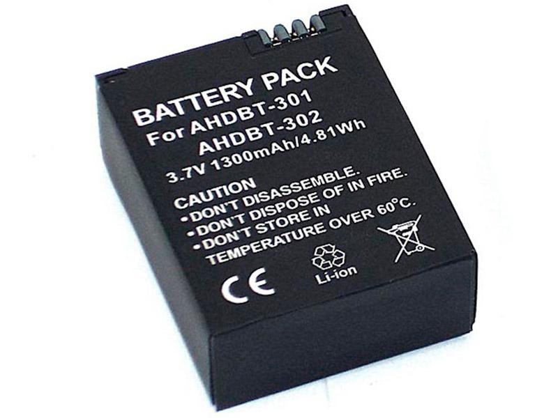 Аккумулятор Vbparts AHDBT-301 3.7V 1300mAh Li-ion 077151 для GoPro Hero 3