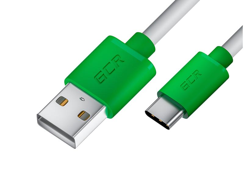 Фото - Аксессуар GCR USB - Type-C 3m White-Green GCR-53249 аксессуар gcr usb type c 2m white green gcr 53248