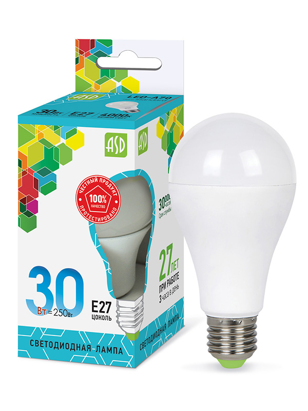 Лампочка ASD LED-A70-STD Е27 30W 230V 4000К 2700Lm 4690612024653
