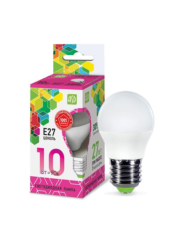 Лампочка ASD LED-Шар-Standard Е27 10W 230V 6500К 900Lm 4690612015491