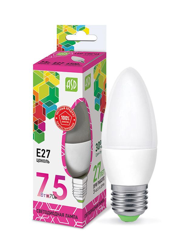 Лампочка ASD LED-Свеча-Standard Е27 7.5W 230V 6500К 675Lm 4690612019055
