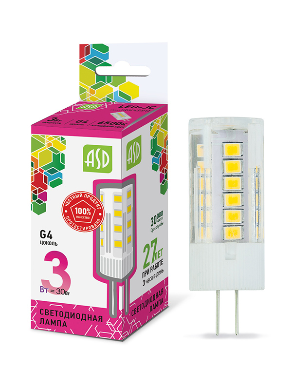 Лампочка ASD LED-JC-Standard G4 3W 12V 6500К 270Lm 4690612026381 лампочка in home led jc vc g4 3w 12v 4000k 270lm 4690612019796