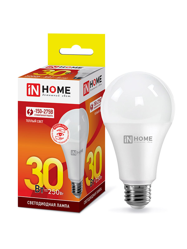 Лампочка In Home LED-A70-VC Е27 30W 230V 3000К 2700Lm 4690612024127