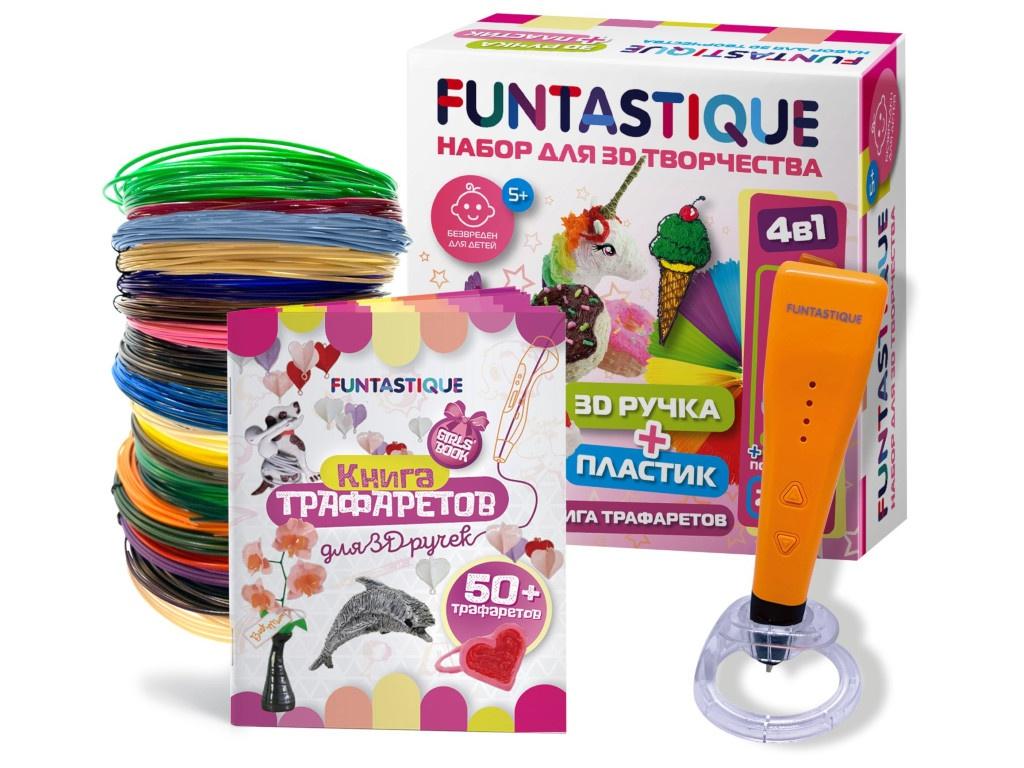 3D ручка Funtastique Cleo с подставкой + PLA-пластик 20 цветов + Книжка с трафаретами, для девочек 4-1-FPN04O-PLA-20-SB-GIRLS