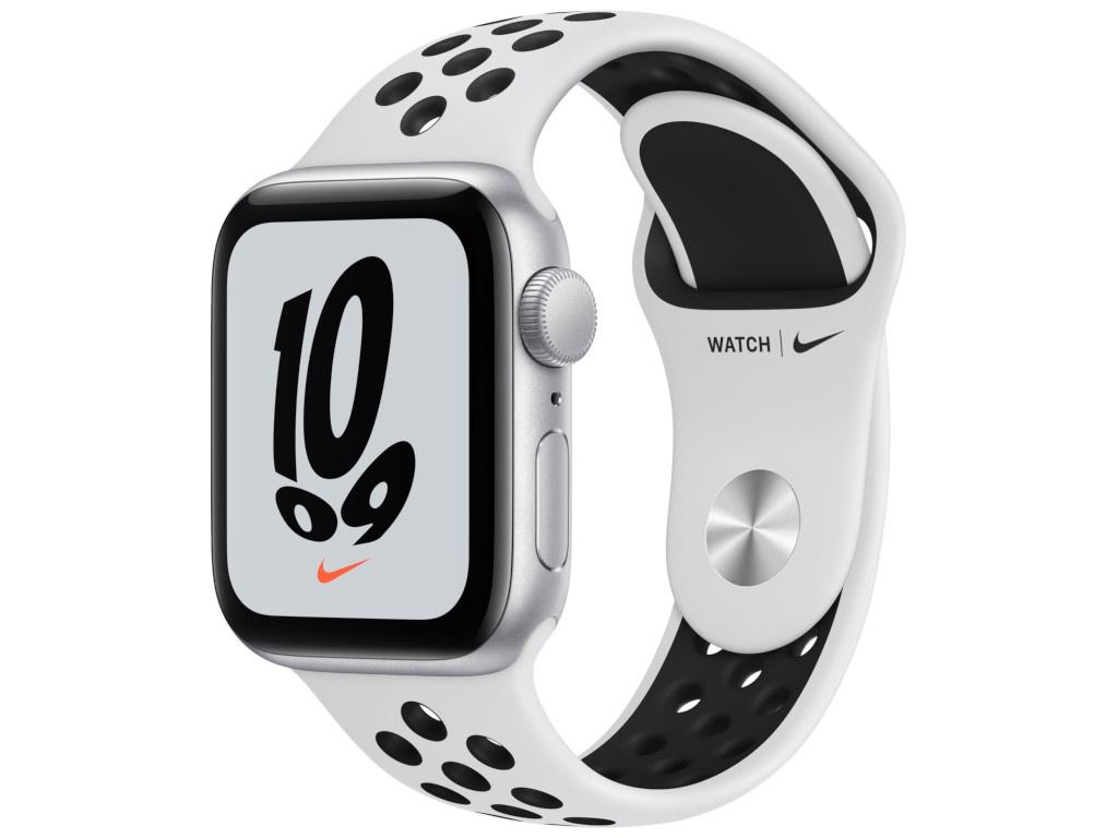 Умные часы Apple Watch SE GPS 40мм Aluminum Case with Nike Sport Band, серебристый/чистая платина/черный