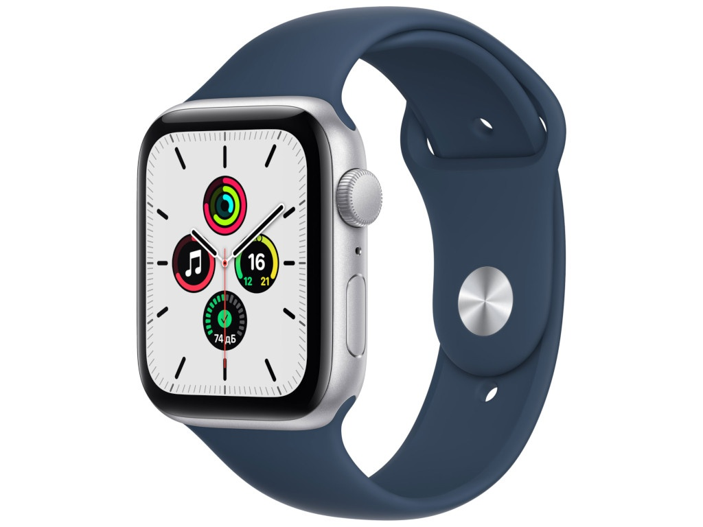 Умные часы APPLE Watch SE 44mm Silver Aluminium Case with Abyss Blue Sport Band MKQ43RU/A