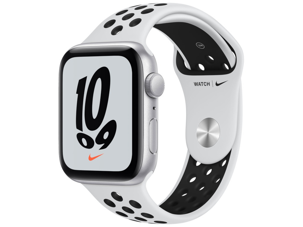 Умные часы APPLE Watch Nike SE 44mm Silver Aluminium Case with Pure Platinum/Black Nike Sport Band MKQ73RU/A