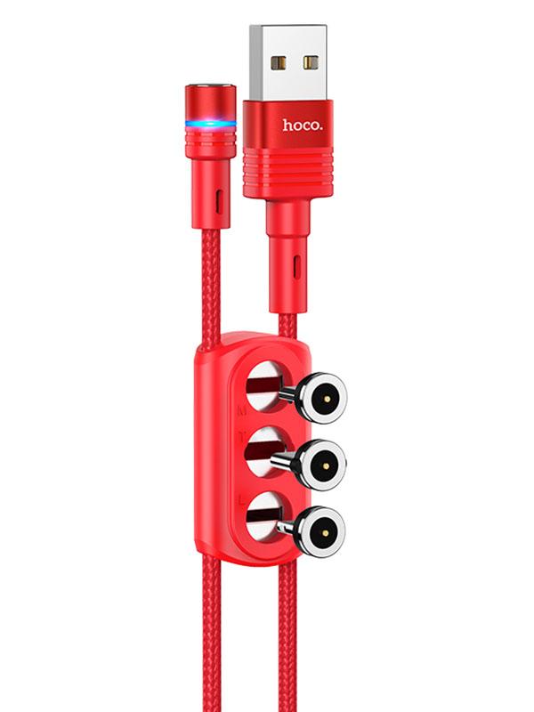 Аксессуар Hoco U98 3-in-1 Sunway Multi-Functional USB - Lightning/MicroUSB/Type-C 1.2m Red