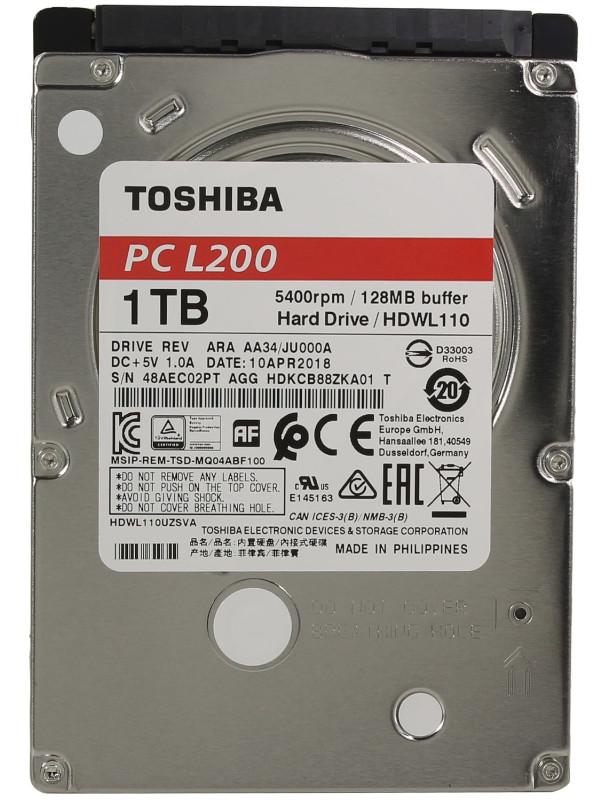Жесткий диск Toshiba L200 Slim 1Tb HDWL110UZSVA Выгодный набор + серт. 200Р!!! жесткий диск toshiba 1 tb hdwl110uzsva