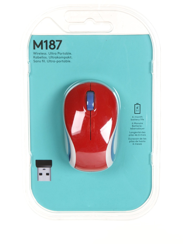 мышь logitech wireless mini mouse m187 red 910 002737 910 002732 Мышь Logitech Wireless Mini Mouse M187 Red 910-002737 / 910-002732