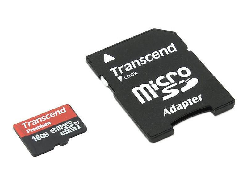 Фото - Карта памяти 16Gb - Transcend - Micro Secure Digital HC Class 10 UHS-I TS16GUSDU1 с переходником под SD карта памяти 8gb perfeo micro secure digital hc class 10 pf8gmcsh10aes с переходником под sd
