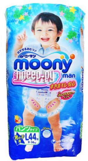 Подгузники Moony Unicharm L 9-14кг 44шт для мальчиков 4903111183418 / 4903111184330