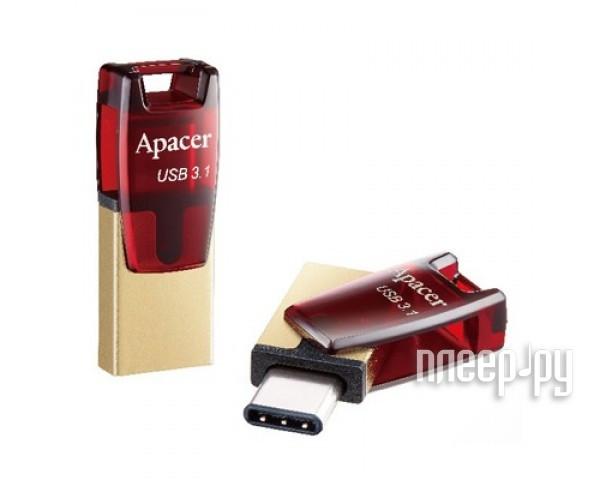 USB Flash Drive 32Gb - Apacer Type-C OTG AH180 Red AP32GAH180R-1[Перейти в каталог этих товаров]