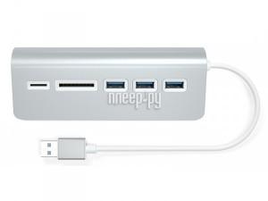 Хаб USB Satechi Aluminum USB 3.0 Hub & Card Reader Silver ST-3HCRS