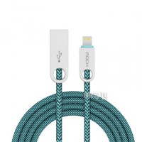 Аксессуар Rock USB to Lightning Cobblestone Charge & Sync Round Cable Peacock Blue RCB0431
