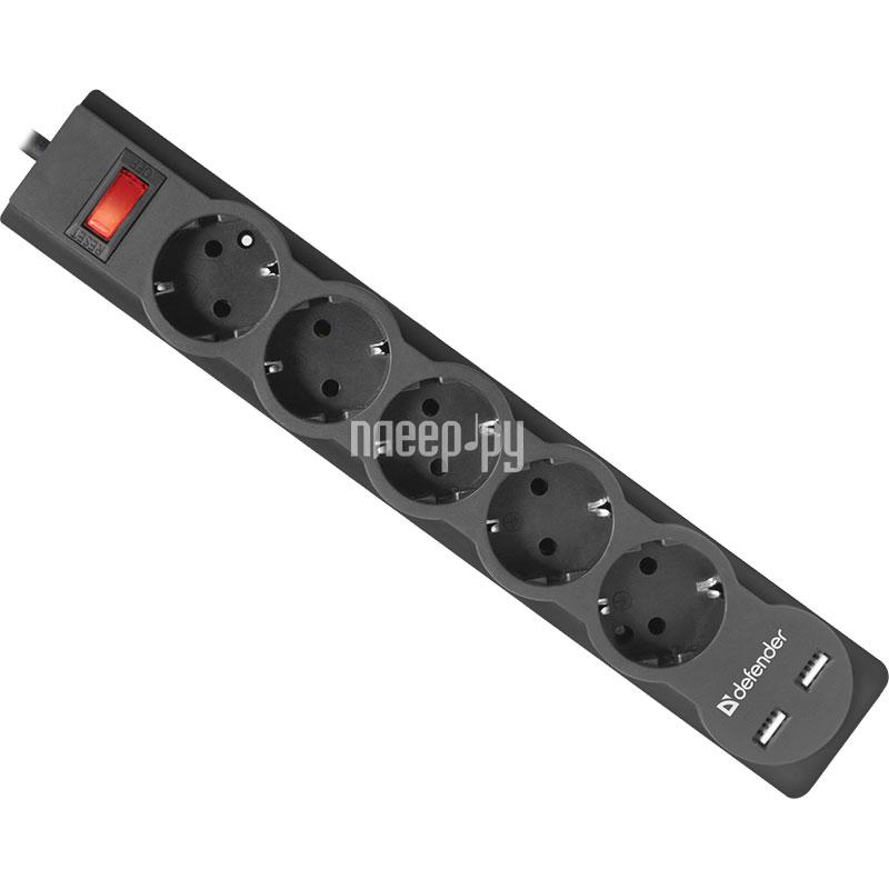 Сетевой фильтр Defender DFS 753 2xUSB 5 Sockets 3.0m 99753[Перейти в каталог этих товаров]