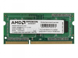 Фото AMD DDR3 SO-DIMM 1600MHz PC3-12800 CL11 - 4Gb R534G1601S1S-UGO