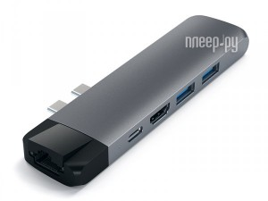Фото Хаб USB Satechi Aluminum Pro Hub With Ethernet для 2016/2017 MacBook Pro 13/15 Space Gray ST-TCPHEM