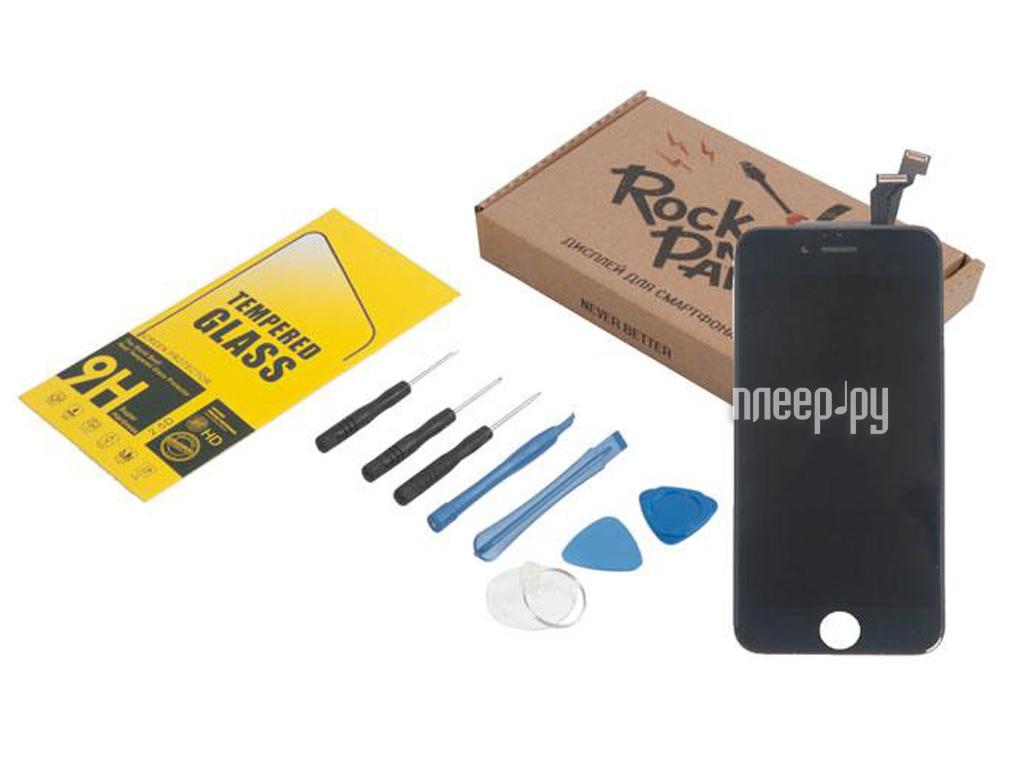c907e8183a13 Комплект для самостоятельного ремонта телефона RocknParts Дисплей для  iPhone 6 Black +защитное стекло+набор