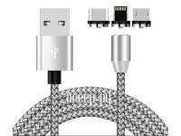 Фото Zibelino USB - Type-C / Lightning / MicroUSB Magnetic 1m ZDCM-3IN1-GREY