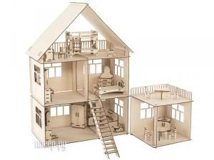 Сборная модель ХэппиДом Коттедж с пристройкой и мебелью HK-D004