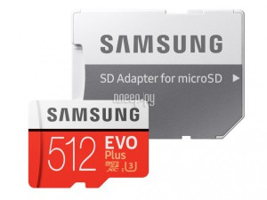 Фото 512Gb - Samsung Micro Secure Digital XC EVO Plus Class10 MB-MC512HA/RU с переходником под SD (Оригинальная!)