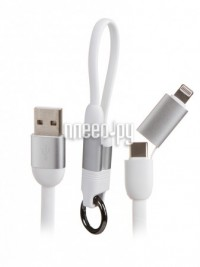 Фото Hoco U87 Cool USB - Lightning + Type-C 20cm White УТ000022028