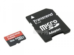 Фото 16Gb - Transcend - Micro Secure Digital HC Class 10 UHS-I TS16GUSDU1 с переходником под SD (Оригинальная!)